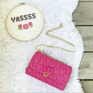 Betsey Johnson Crossbody Wallet Quilted Heart Pink